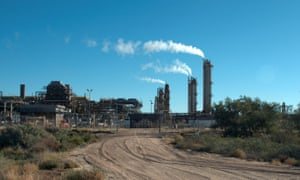 The Santos-operated Moomba gas plant is seen outside Moomba, South Australia