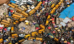 A traffic jam at a market near Surulere in Lagos, Nigeria.