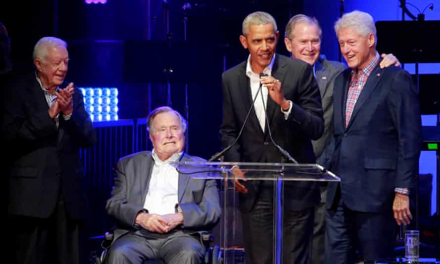 Happy and relaxed … Jimmy Carter, George H W Bush, Barack Obama, George W Bush and Bill Clinton.