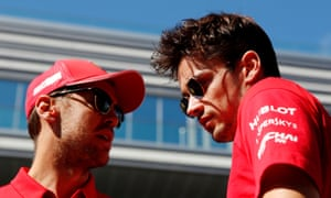 Charles Leclerc and Sebastian Vettel talk at the Russian Grand Prix.