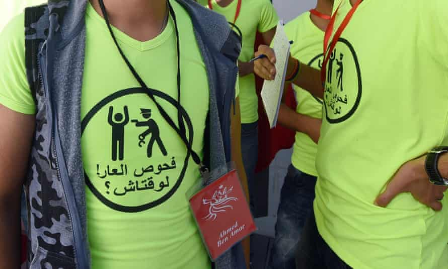 Members of the Tunisian rights group Shams attend a press conference in support of a 22-year-old man accused of engaging in homosexual acts and sentenced to a year in prison.