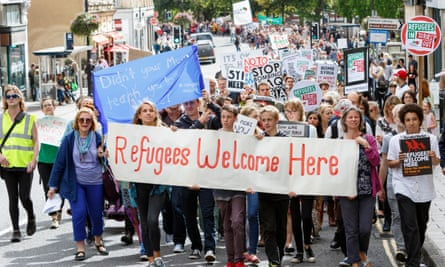Protesters in Bristol march in support of refugees.