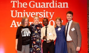 Host Lauren Laverne and Murray Simpson from Net Natives present the Student diversity and widening participation award to the University of East London at the Guardian University Awards 2017 held at LSO St Luke's in Old Street, London. 29 March 2017