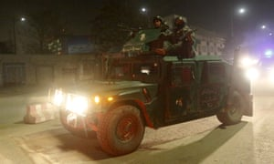 Afghan security forces arrive at the site of a Taliban attack in Kabul.