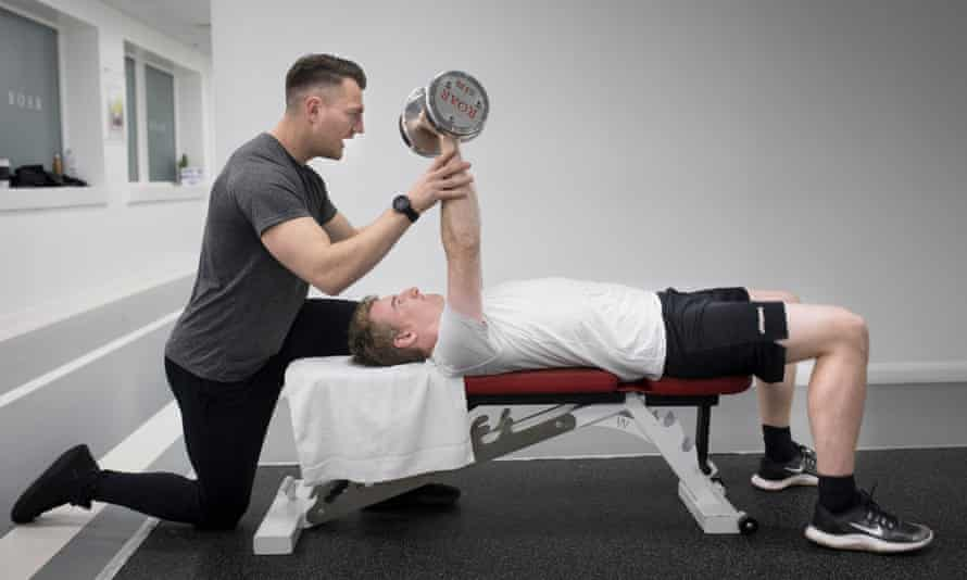 Powering through: hitting the weights with personal trainer Alex.