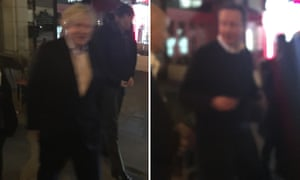 Boris Johnson leaves a restaurant in Harlem, New York, after having dinner with David Cameron