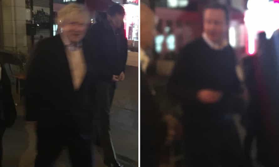 Boris Johnson and David Cameron leave a restaurant in Harlem, New York, after having dinner together.
