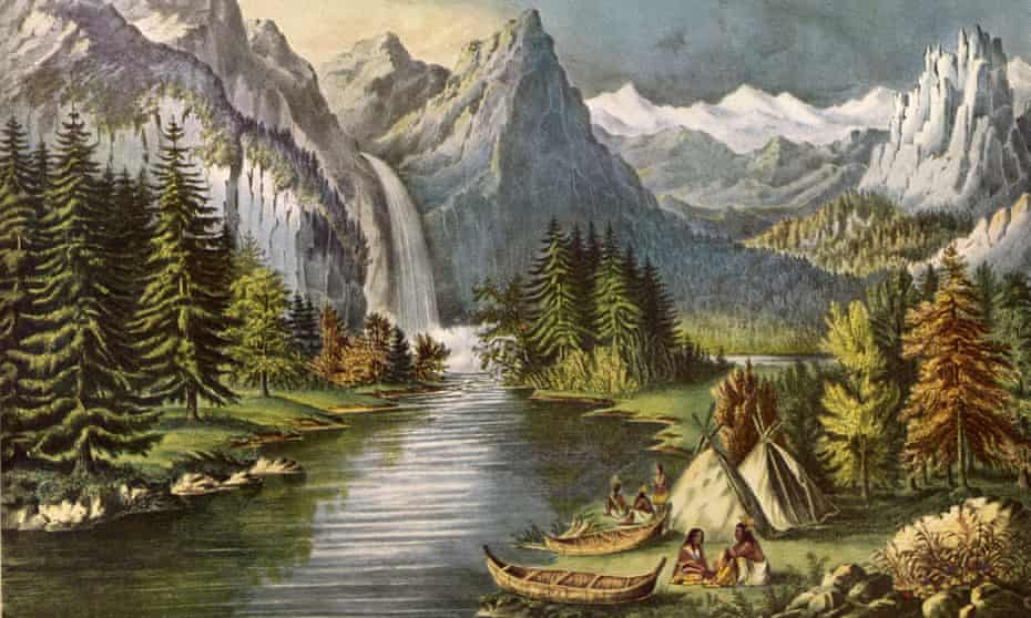 Circa 1700, a Native American camp at the side of the Merced river in the Yosemite valley.