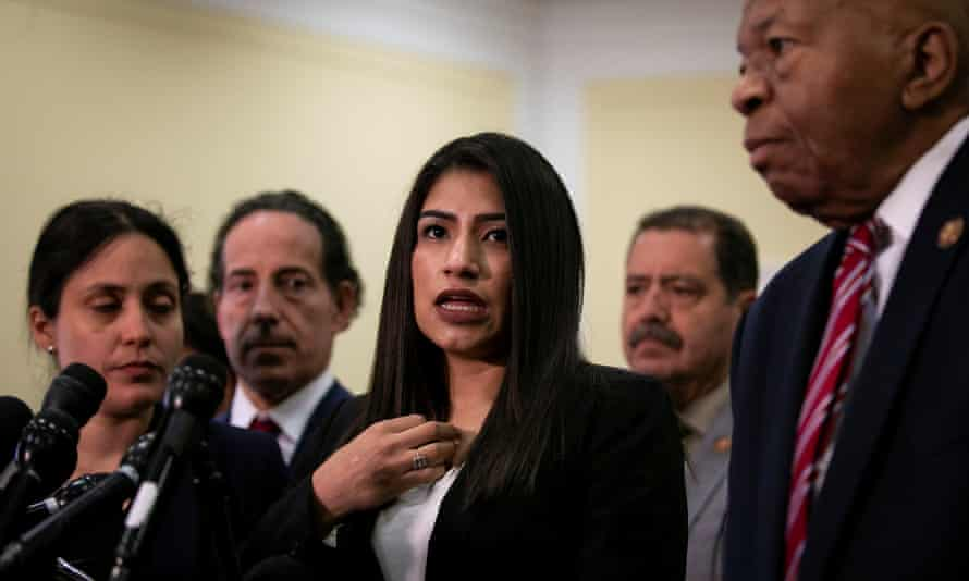 Yazmin Juarez, whose daughter died after detention by US Immigration and Customs Enforcement, speaks during a news conference on Capitol Hill.