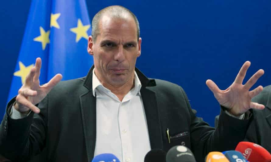 Greek finance minister Yanis Varoufakis speaks after the meeting of eurozone finance ministers in Brussels on Friday night.