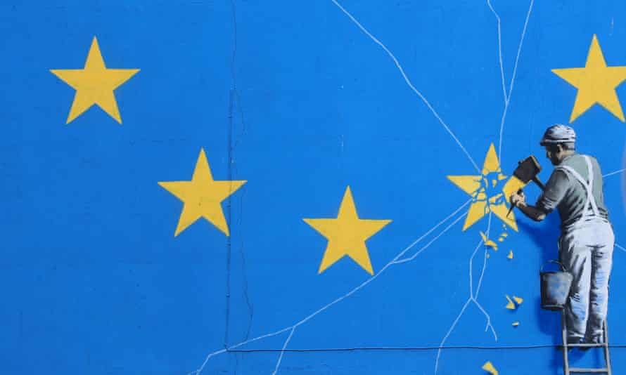 view of the Brexit-inspired mural by artist Banksy in Dover, Kent,