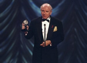 McNally accepts a Tony award, Best Book of a Musical, for Ragtime, 2007.