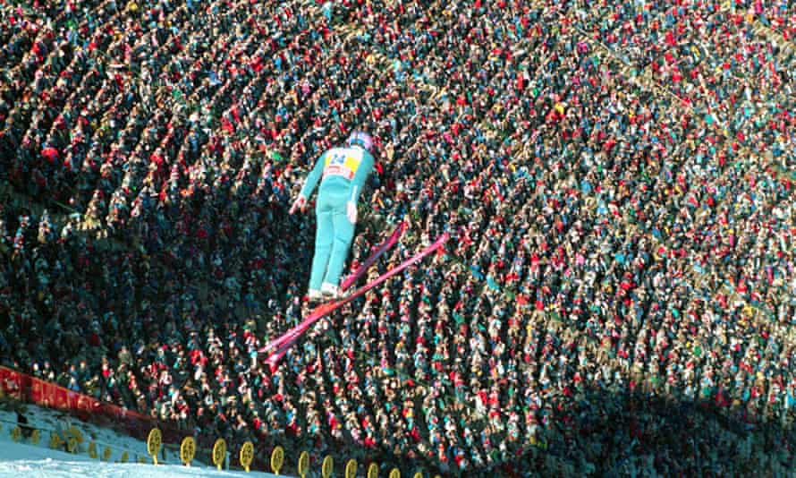 Eddie in the 90m Olympic ski jump competition.