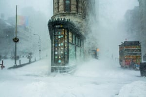 While walking through the Jonas snowstorm that swept across the East Coast, I captured this shot of the Flatiron Building against a backdrop of swirling snow. Flatiron Building, Manhattan, New York, USA