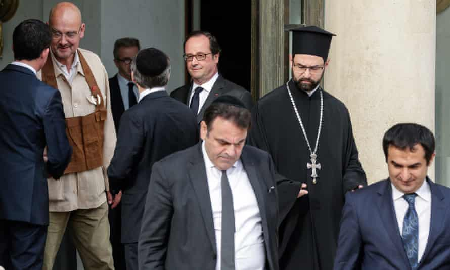 The French president, François Hollande, hosted a meeting with religious leaders following Tuesday's attack at a Normandy church.