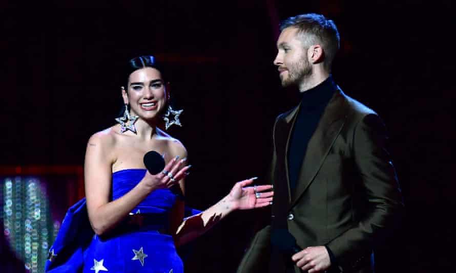 Dua Lipa and Calvin Harris collect the Brit award for best British single.