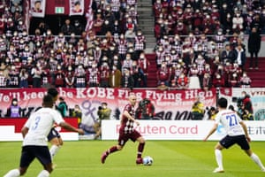 Andrés Iniesta (centre) in action for Vissel Kobe against Yokohama FC in their only J League match so far this season, which finished 1-1.
