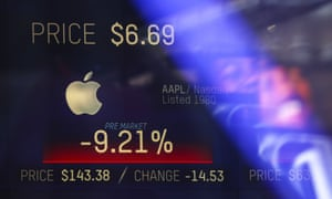 Apple's numbers on Thursday displayed on a Nasdaq screen in Times Square, New York.