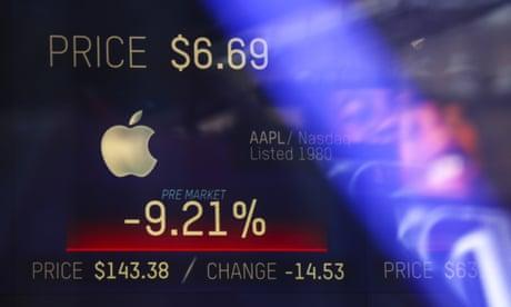 Apple shock and weak data drag down Wall Street – as it happened