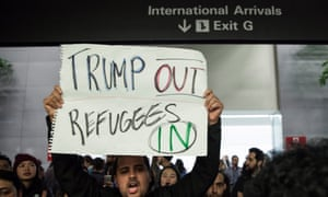 A protest against Trump's travel ban at San Francisco i international airport.