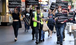 Animal rights protesters march through the business district in Sydney in April