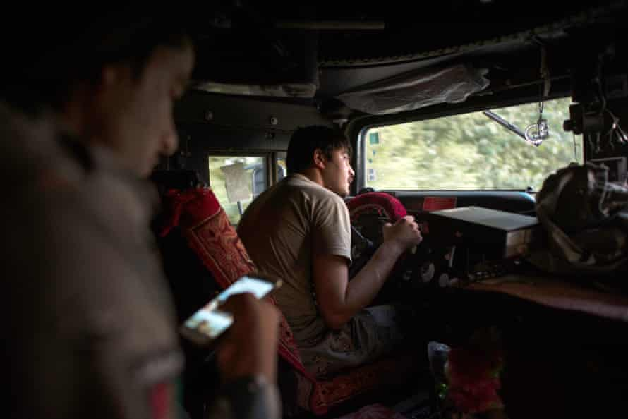 Returning to Lashkar Gah in an armoured humvee from a border police checkpoint on the frontline at Spinah Kota, on the edge of the Helmand provincial capital.