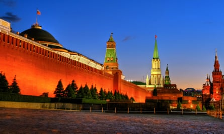 Glow fix … Kremlin and Red Square at dusk.
