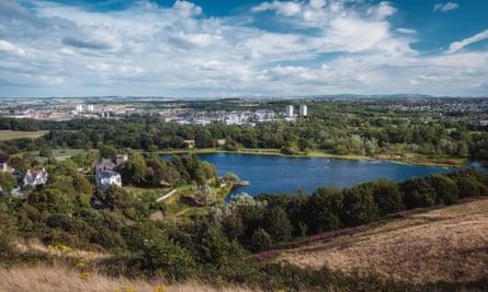 View of Duddingston Loch and Edinburgh.