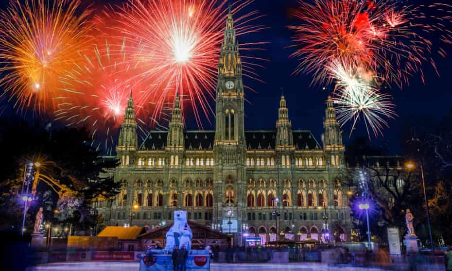 Fireworks over City Hall, New Year's Eve, Vienna