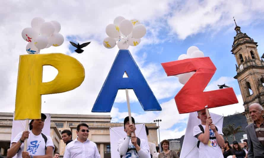 People gather at Bogotá's main square to celebrate the historic peace agreement.