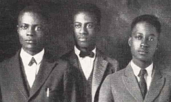 Melvin B Tolson (centre), who led his Wiley College debate team to a famous victory against Harvard in 1935, and inspired the film The Great Debaters.
