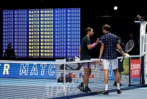 Daniil Medvedev with Rafael Nadal after winning their semi-final.
