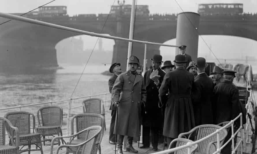 The King of Afghanistan, Amanullah Khan aboard the PLA yacht at Westminster Pier, London, March 1928.