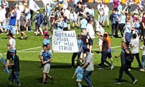 Manchester City fans held aloft a message for Sir Alex Ferguson.