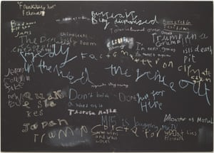 News at Seven (Chilling), 2017 by Cornelia Parker: news headlines drawn on a blackboard by seven-year-olds.