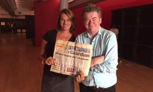 Jonathan Jones with Tracey Emin at Tate Liverpool with the copy of the Guardian used in Emin's installation My Bed.