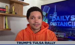 """Trevor Noah on TikTok users and K-Pop stans trolling the Trump campaign by registering for free rally tickets: """"Foiled by a bunch a meddling kids - that means Trump is basically a Scooby-Doo villain now. But at least Scooby-Doo villains wear masks."""""""