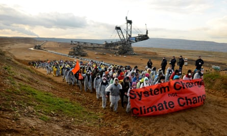 Protesters at Hambach opencast mine, less than an hour's drive from UN climate talks taking place in Bonn.