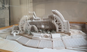 A model of the complete Arcosanti. The dark grey buildings have been completed.