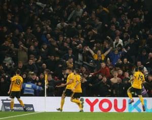 Diogo Jota of Wolverhampton Wanderers celebrates scoring their second goal.