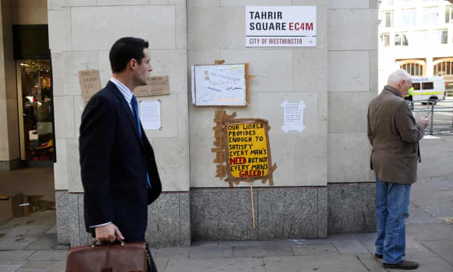 A sign in Paternoster Square rebadged by protesters as Tahrir Square in 2011