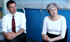 Theresa May and Jeremy Hunt speak to patients during a round table discussion as they visit the Renal Transplant Unit at the Royal Liverpool University Hospital, Liverpool, October 12, 2017.