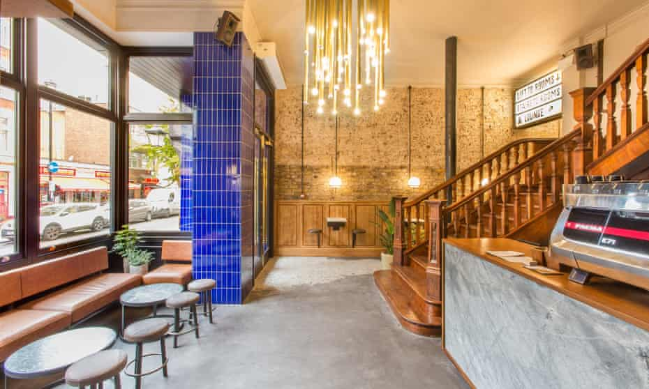 The coffee-shop lobby of the Pilgrm Hotel, Paddington, London