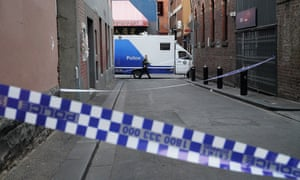 The scene in Melbourne's Chinatown, where the body of a woman was found.