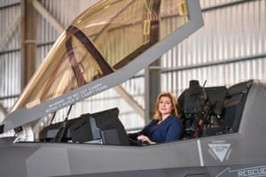 Akrotiri, Cyprus Defence secretary Penny Mordaunt sits in the cockpit of a F-35 Lightning jet