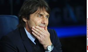 Chelsea's manager Antonio Conte looks pensive during the 3-0 defeat at Barcelona.