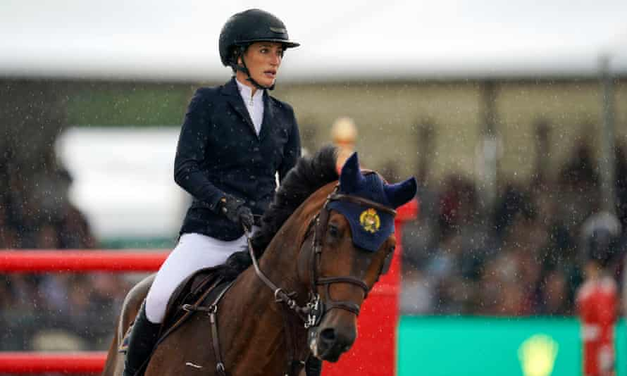 Jessica Springsteen riding Don Juan van de Donkhoeve competes in the Rolex Grand Prix at the Royal Windsor Horse Show.