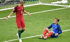 Portugal defender Pepe reacts towards Antoine Griezmann during the Euro 2016 final.