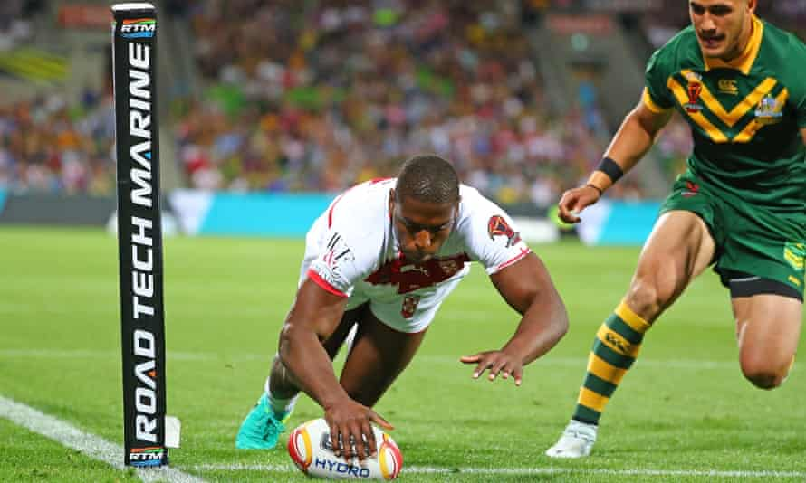 Jermaine McGillvary scores the opening try for England against Australia at the 2017 Rugby League World Cup in Melbourne.