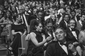 Mark Rylance, Anton Lesser, Claire Foy and Stephen Campbell-Moore amongst the audience at the Festival Hall